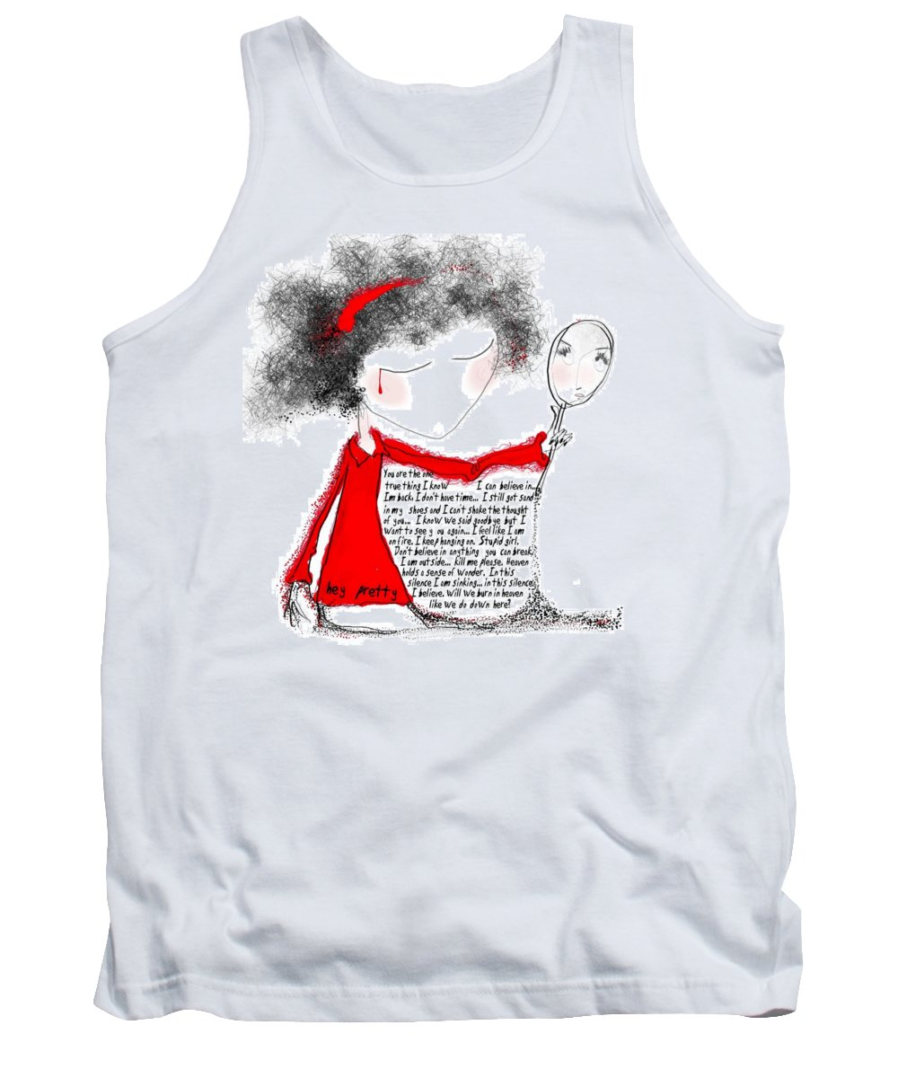 Pretty Woman Crying Tears Red Words Mirror Girls Tank Top featuring the digital art Hey Pretty by Veronica Jackson
