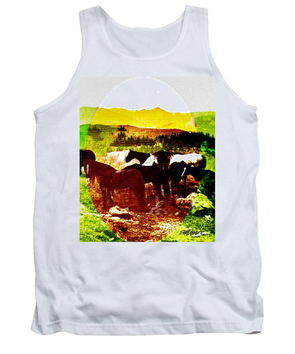 Mustangs Tank Top featuring the digital art High Plains Horses by Seth Weaver