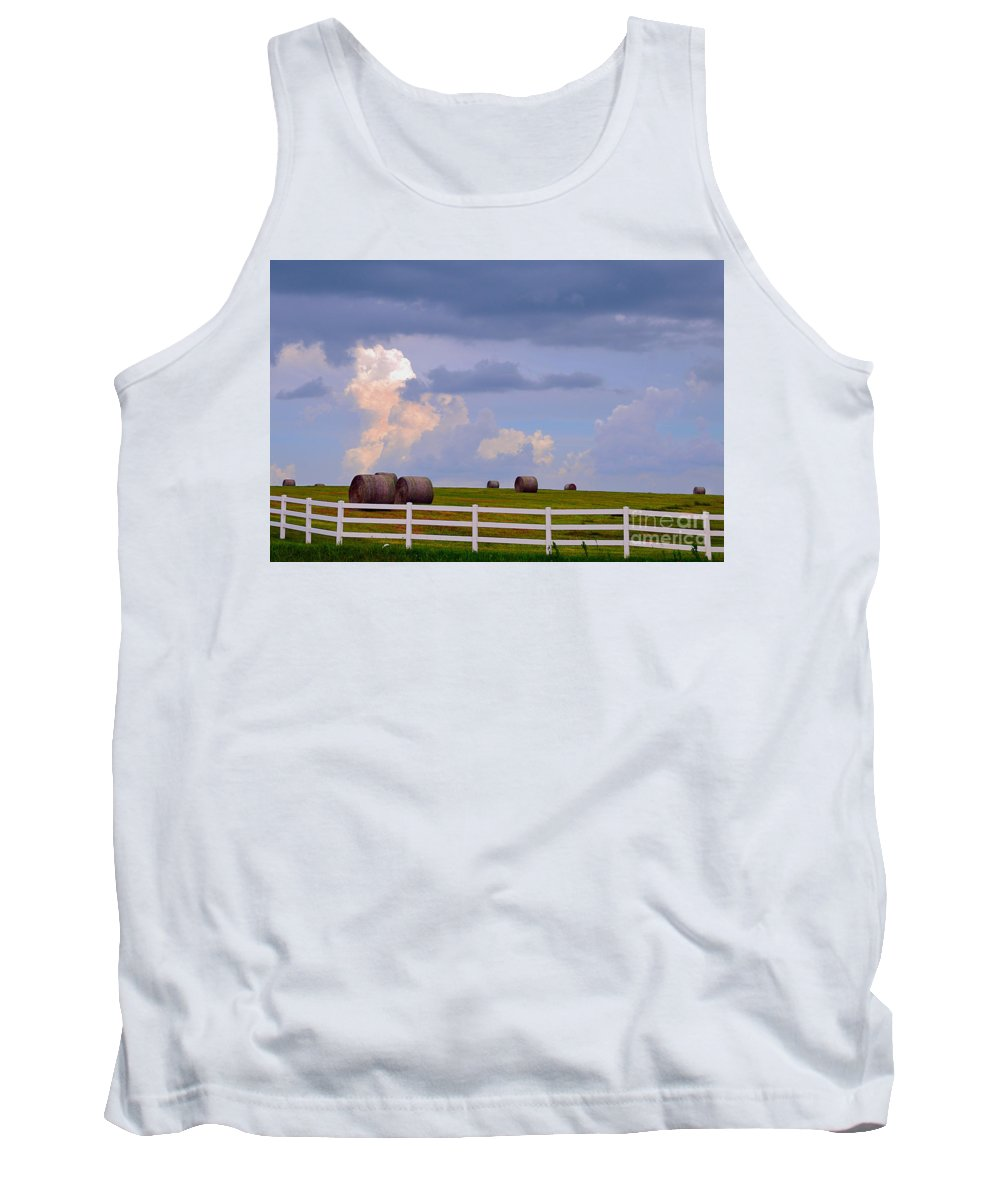 Hay Bales Tank Top featuring the photograph Hillside Hay Bales At Sunset by Catherine Sherman