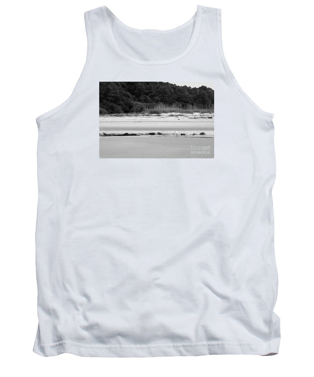 Tank Top featuring the photograph Hilton Head Island Shoreline In Black And White by Angela Rath