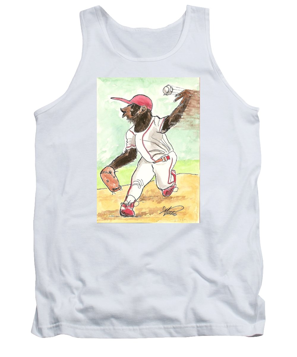 Baseball Tank Top featuring the drawing Hit This by George I Perez