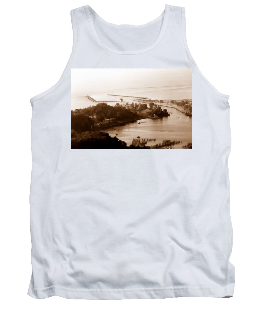 Holland Tank Top featuring the photograph Holland Michigan Harbor Big Red Aerial Photo by Michelle Calkins