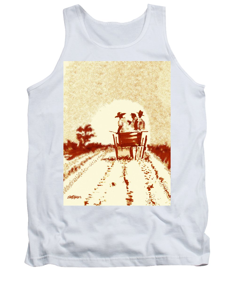 Old South Tank Top featuring the digital art Home Before Dark by Seth Weaver