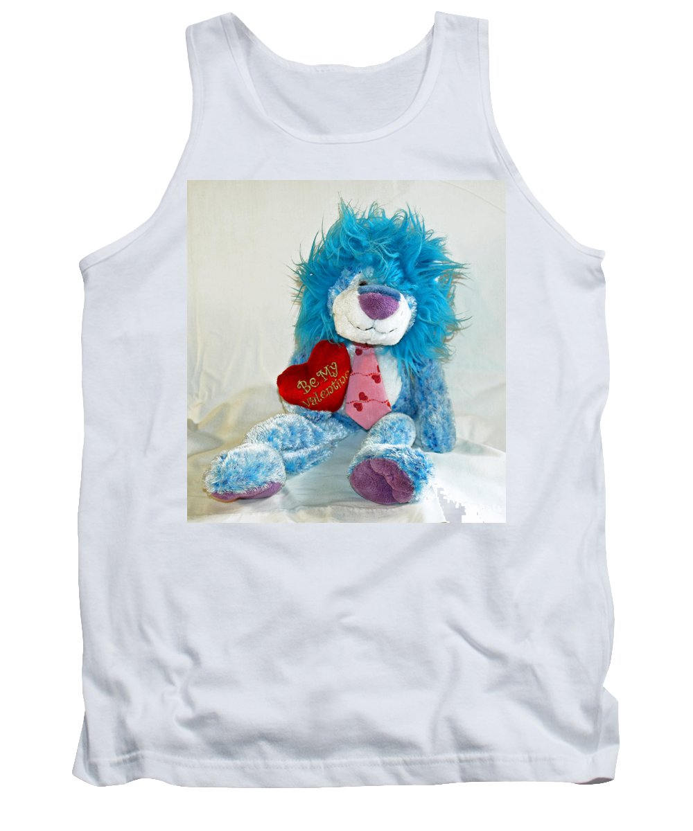 Love; Hope; Hoping; Man; Male; Lion; Blue; Stuffed; Animal; Heart; Valentine; Hopeful; Lover; Suitor Tank Top featuring the photograph Hoping For Love by Allan Hughes