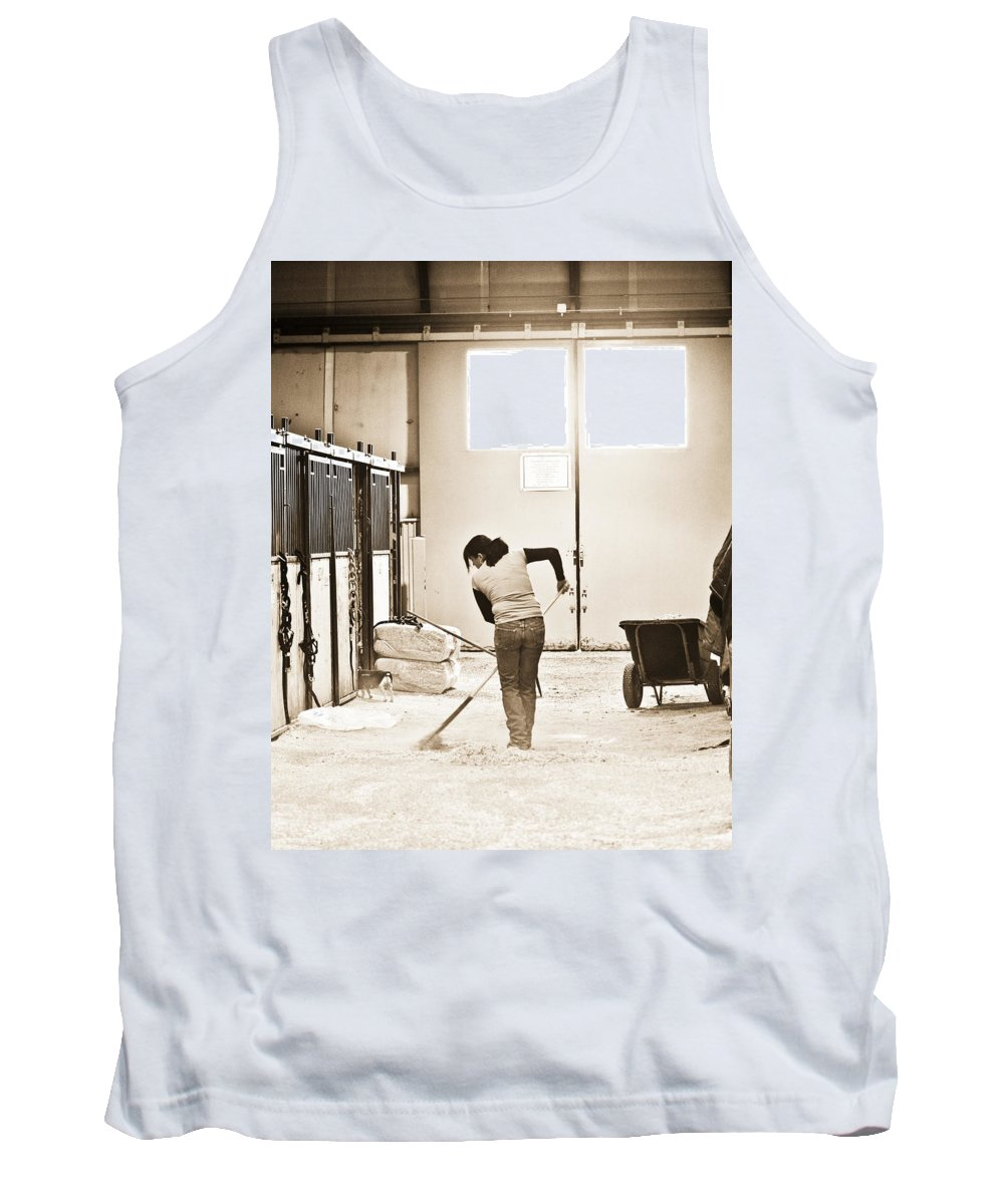 Horse Tank Top featuring the photograph Horse Work by Marilyn Hunt