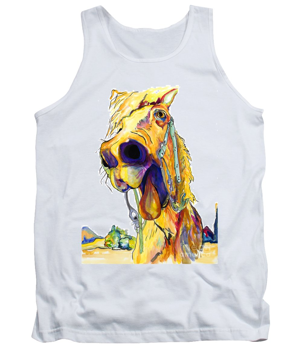 Animal Painting Tank Top featuring the painting Horsing Around by Pat Saunders-White
