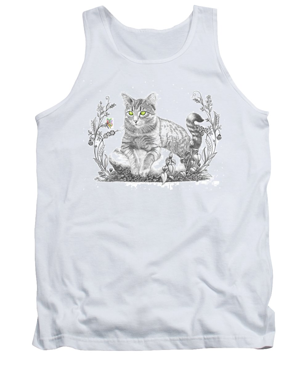 Cat Tank Top featuring the drawing House Cat by Murphy Elliott