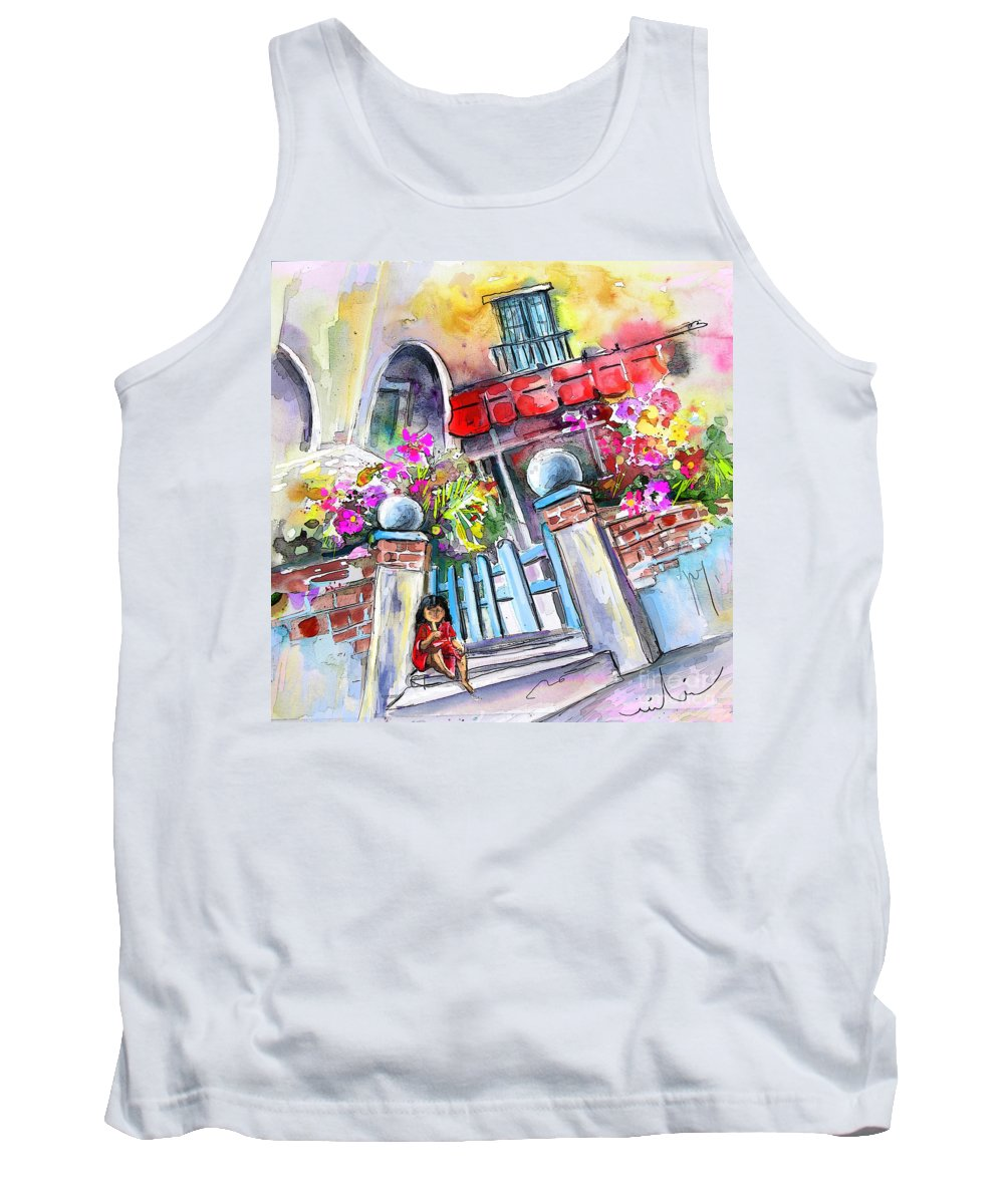 Garrucha Painting Tank Top featuring the painting House Entrance In Garrucha by Miki De Goodaboom