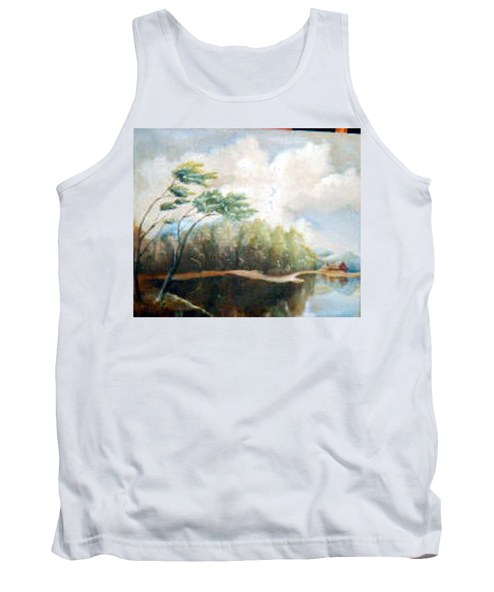 Landscape Tank Top featuring the painting House On The Lake by Sergey Bezhinets