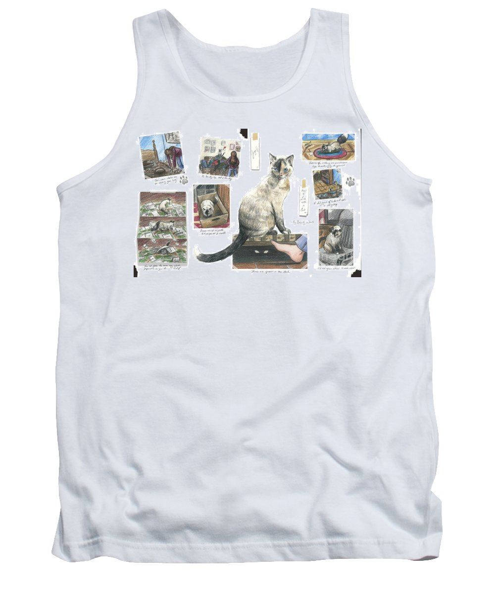 Comic Tank Top featuring the drawing How To Live With A Cat by Brandy Woods
