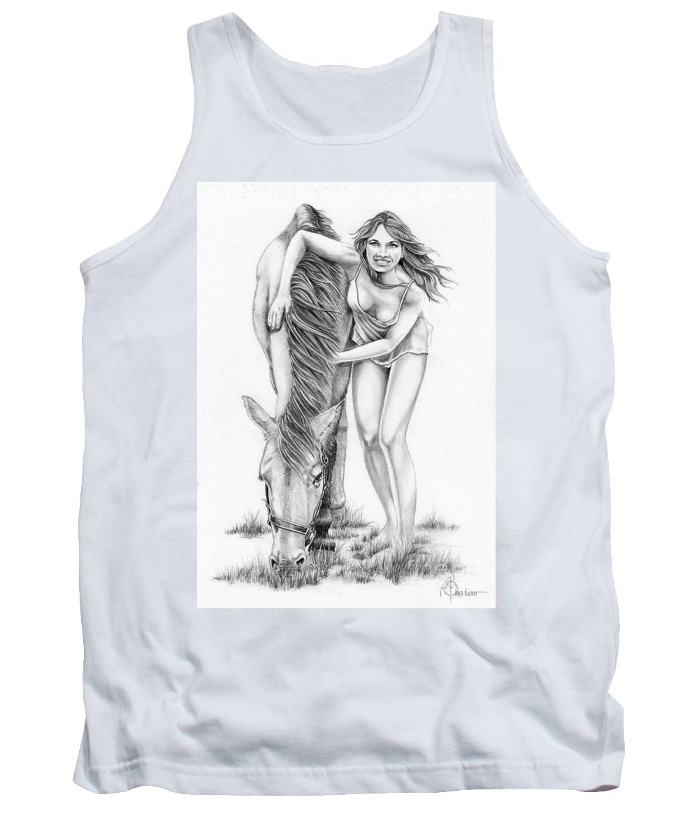 Pencil Tank Top featuring the drawing Hug a Horse by Murphy Elliott