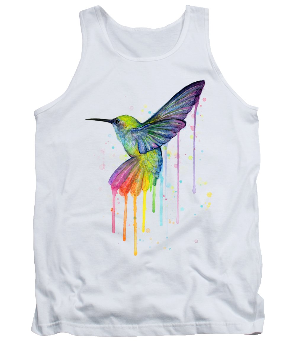 Hummingbird Tank Top featuring the painting Hummingbird of Watercolor Rainbow by Olga Shvartsur