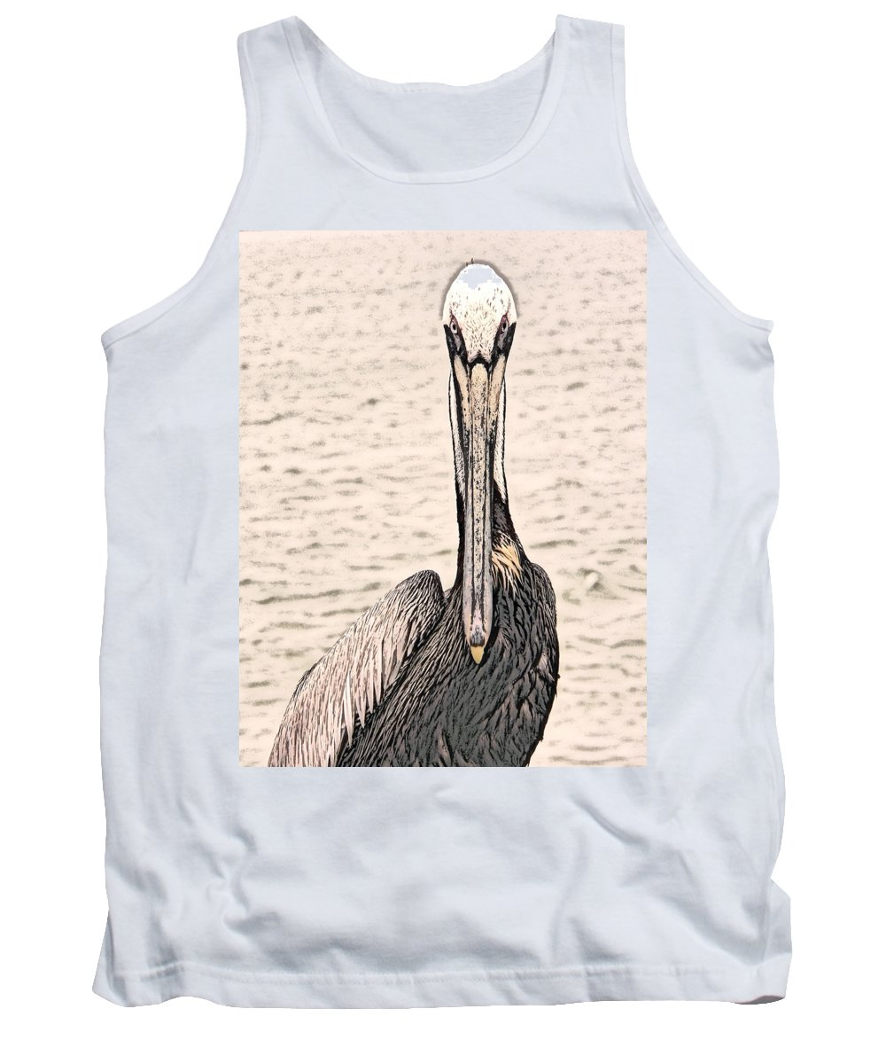 Brown Pelican Tank Top featuring the photograph I See You Too by Steven Sparks