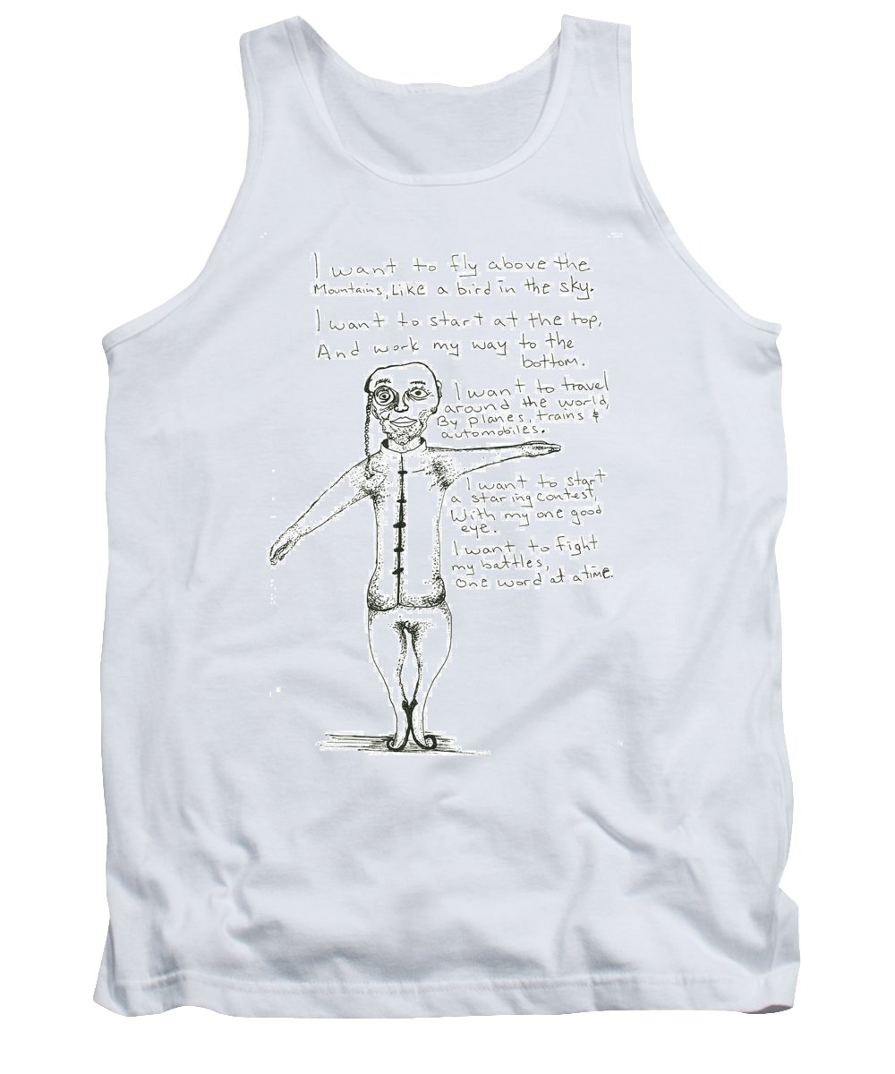 Drawing Tank Top featuring the drawing I Want To Fly by Michael Mooney