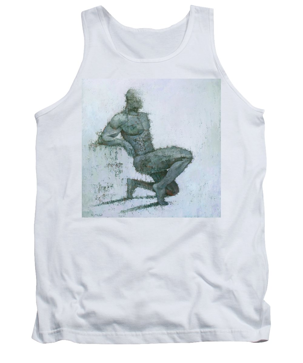 Figurative Original Art Painting Mixed Media Texture Male Man Modern White Grey Tank Top featuring the painting Idrium by Steve Mitchell