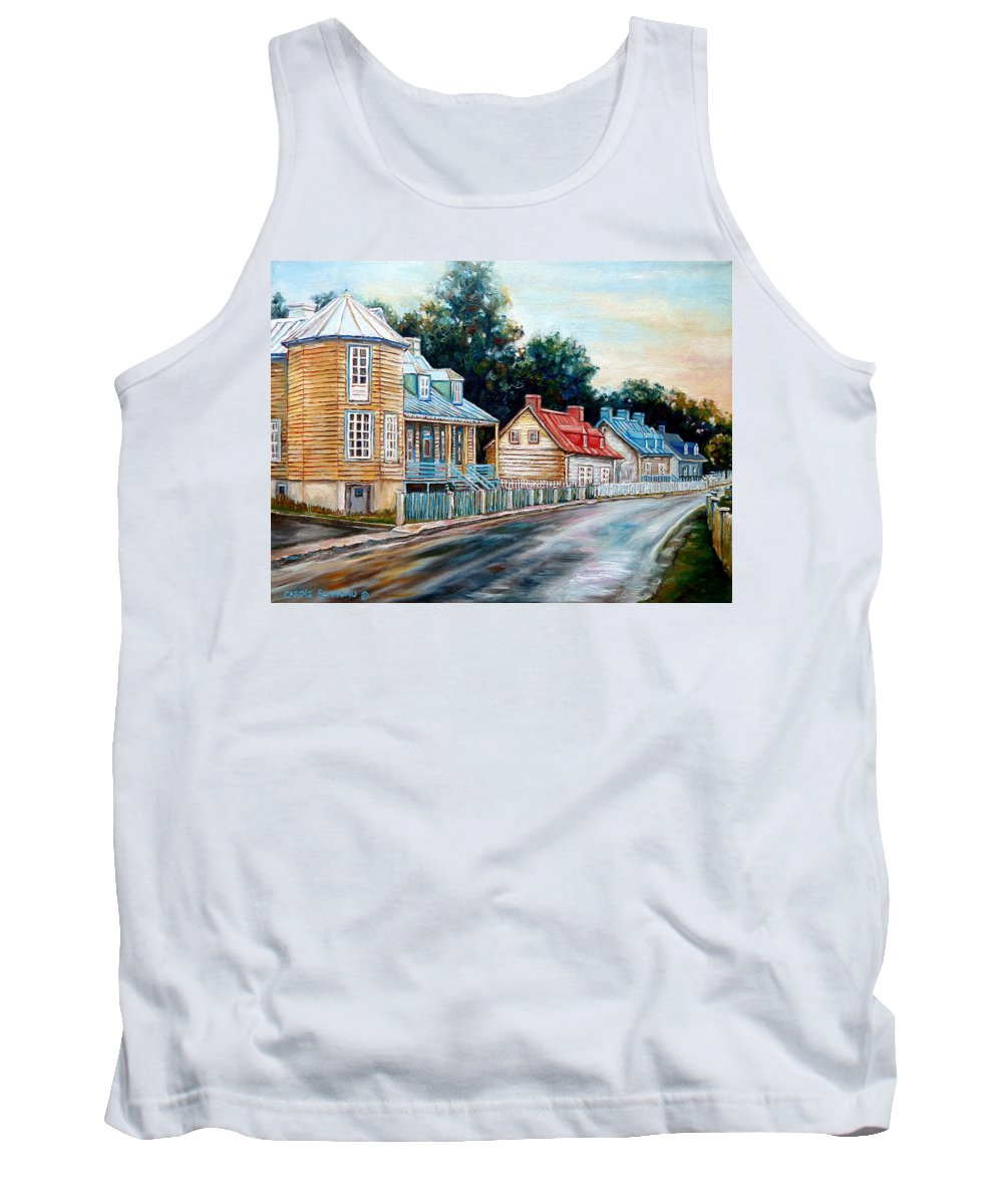 Ile D'orleans Tank Top featuring the painting Ile D'orleans Quebec Street Scene by Carole Spandau