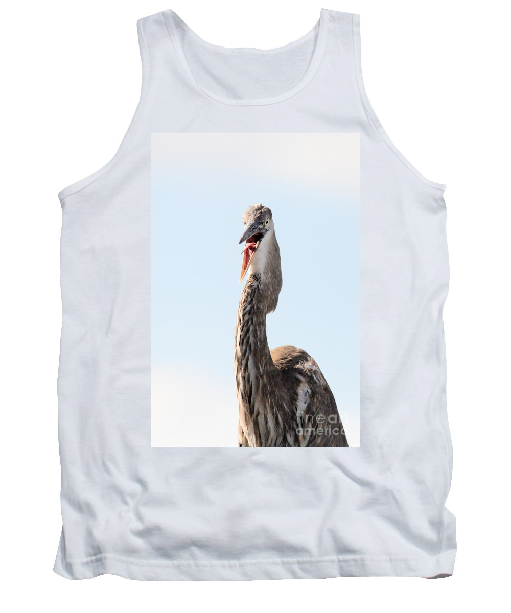 Immature Great Blue Heron Tank Top featuring the photograph Immature Great Blue Heron Sticks Toungue Out by Matt Suess