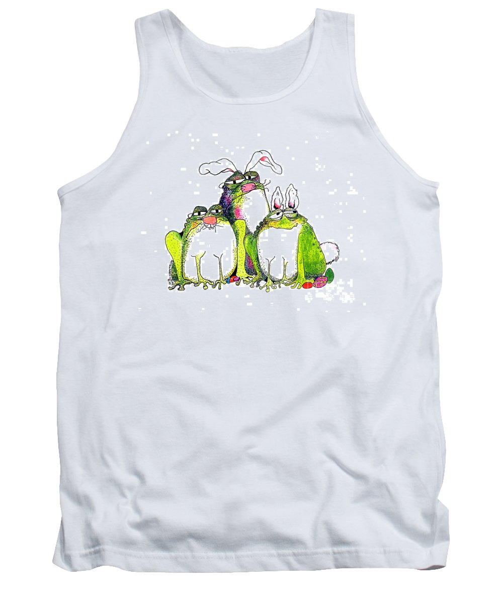 Easter Bunnies Tank Top featuring the painting In Disguise by Pat Saunders-White
