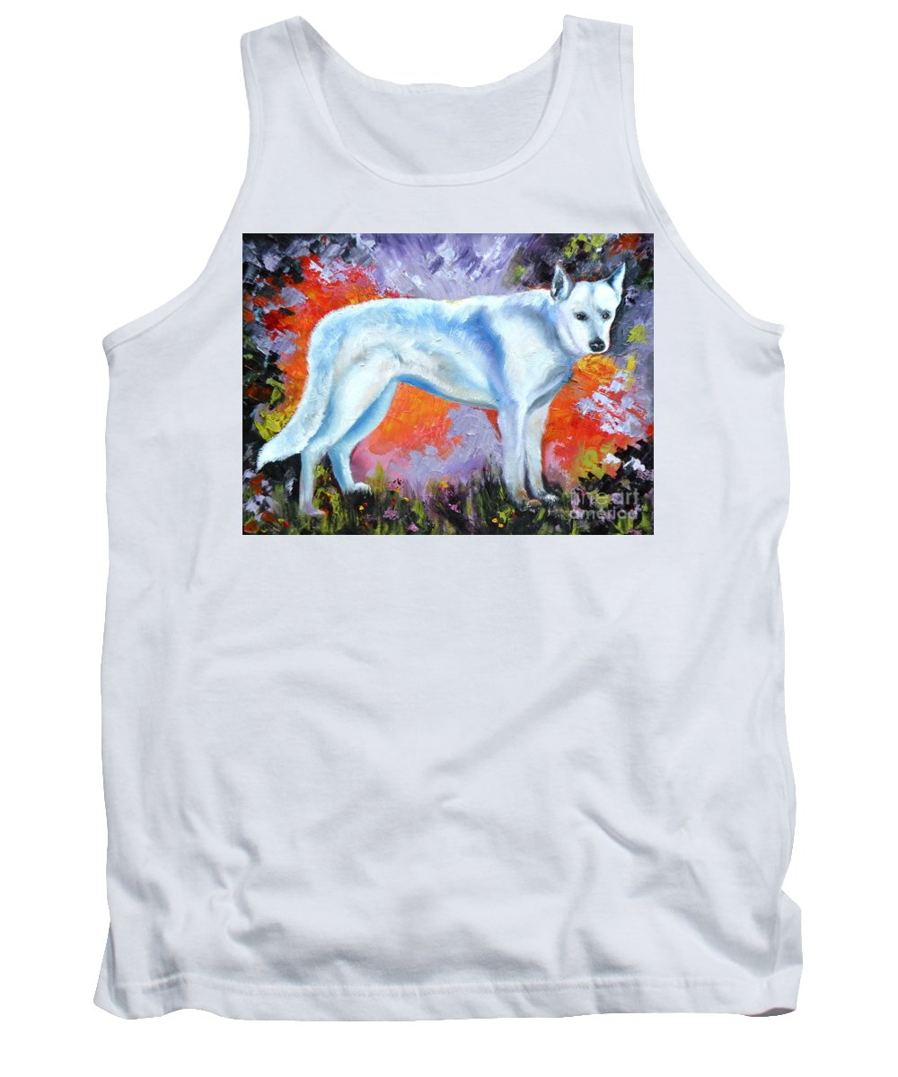 Dogs Tank Top featuring the painting In Shepherd Heaven by Susan A Becker