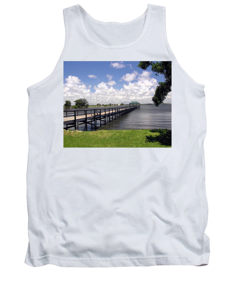 Indialantic; Pier; Florida; Brevard; Melbourne; Indian; River; Intercoastal; Waterway; Clouds South; Tank Top featuring the photograph Indialantic Pier On The Indian River Lagoon In Central Florida by Allan Hughes