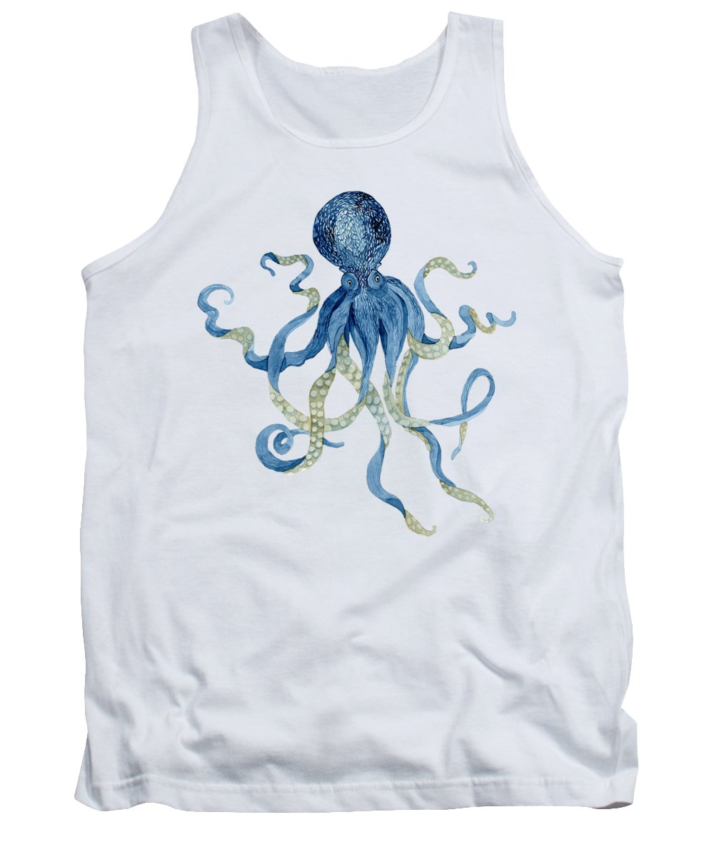 Indigo Tank Top featuring the painting Indigo Ocean Blue Octopus by Audrey Jeanne Roberts