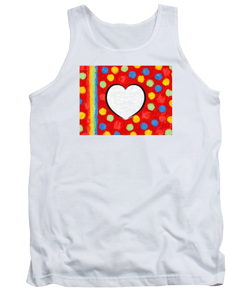 Red Tank Top featuring the digital art Insta Heart by Ricardo Catach