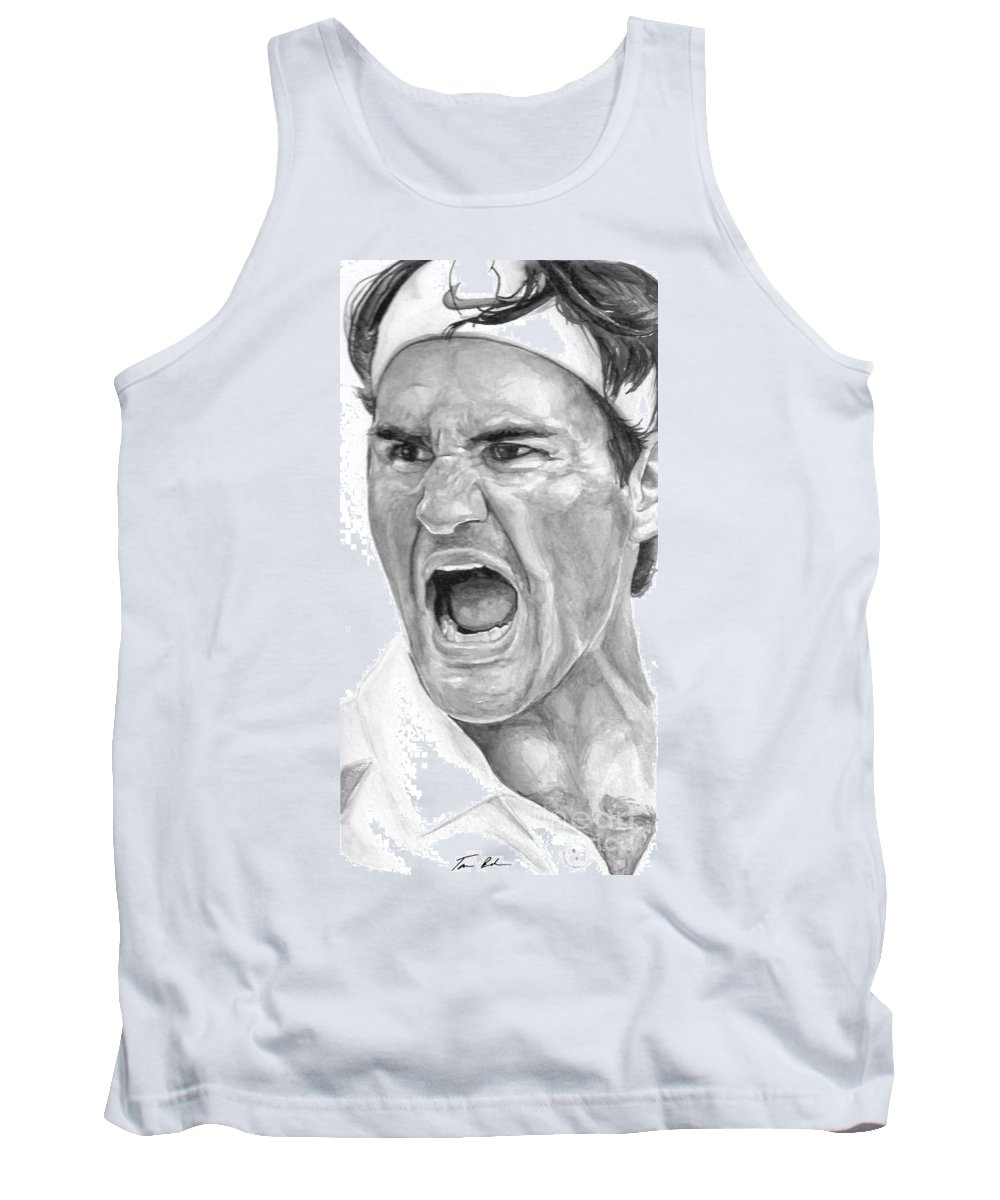 Federer Tank Top featuring the painting Intensity Federer by Tamir Barkan