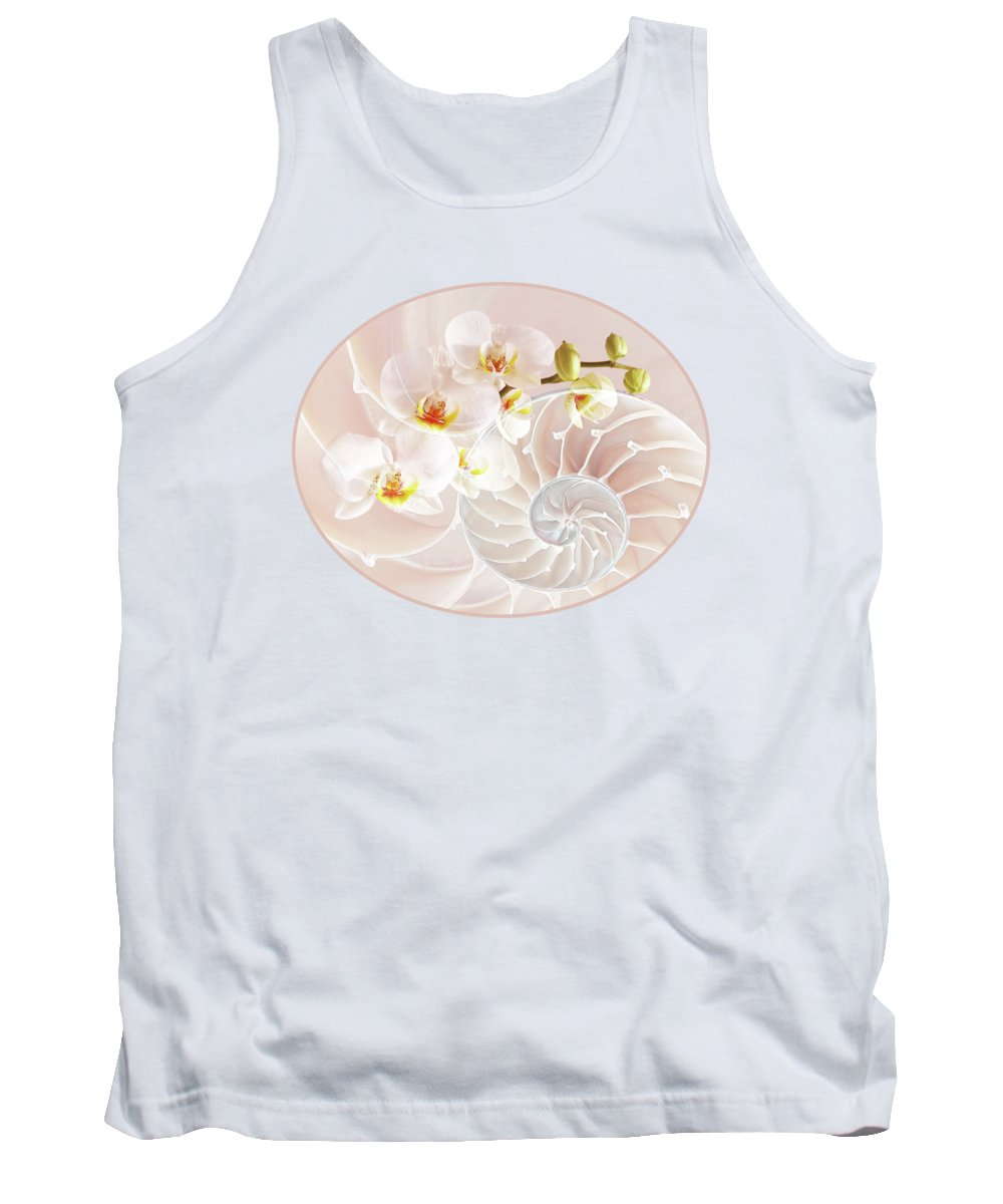 Nautilus Shell Tank Top featuring the photograph Intimate Fusion In Soft Pink by Gill Billington