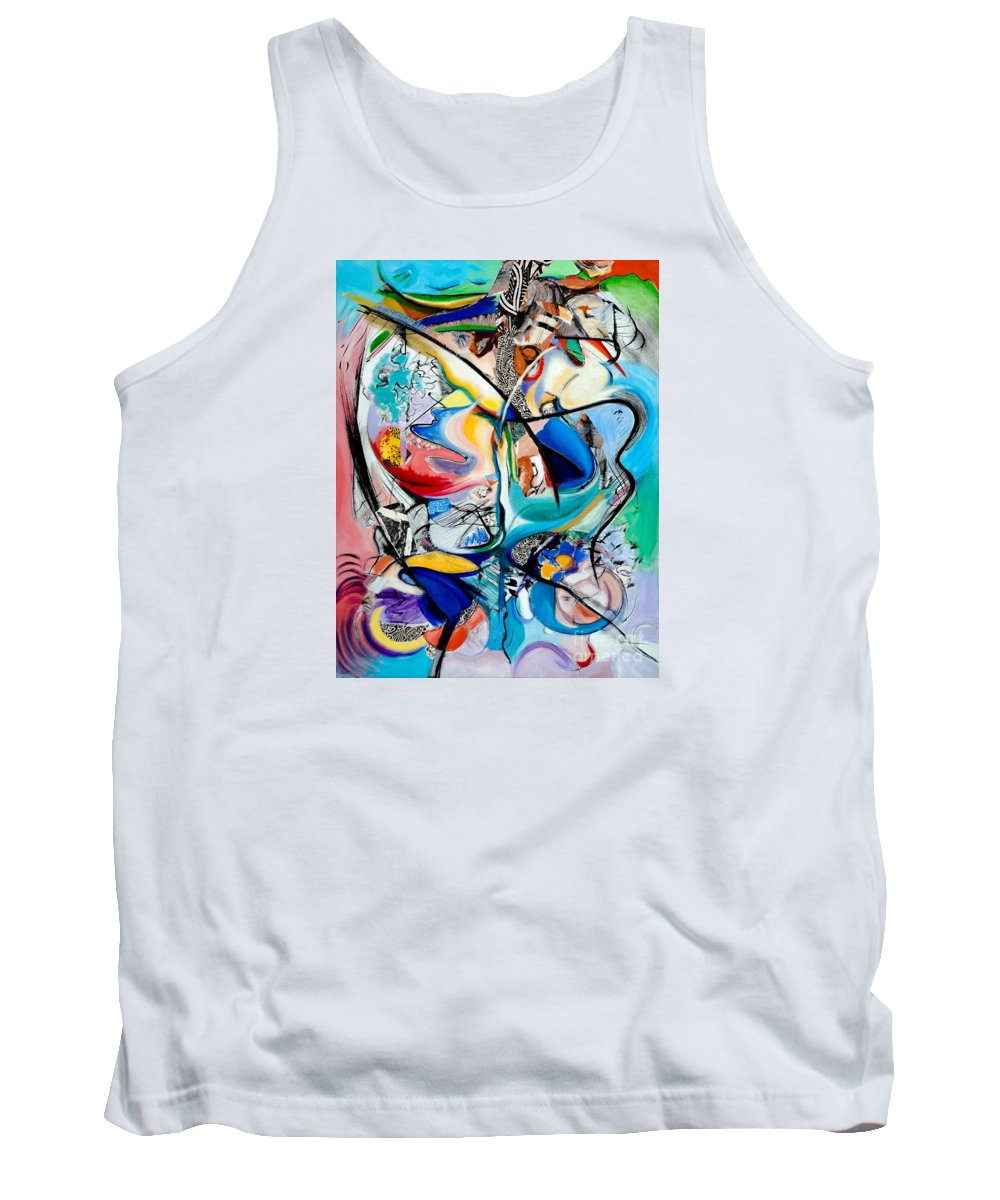 Abstract Tank Top featuring the painting Intimate Glimpses - Journey of Life by Kerryn Madsen-Pietsch
