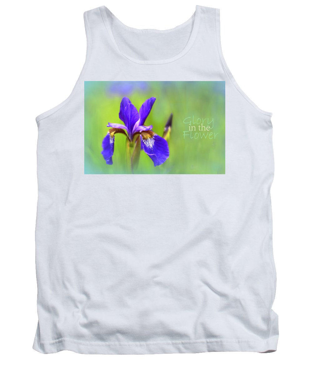 Iris Tank Top featuring the photograph Iris Elegance by Jessica Jenney
