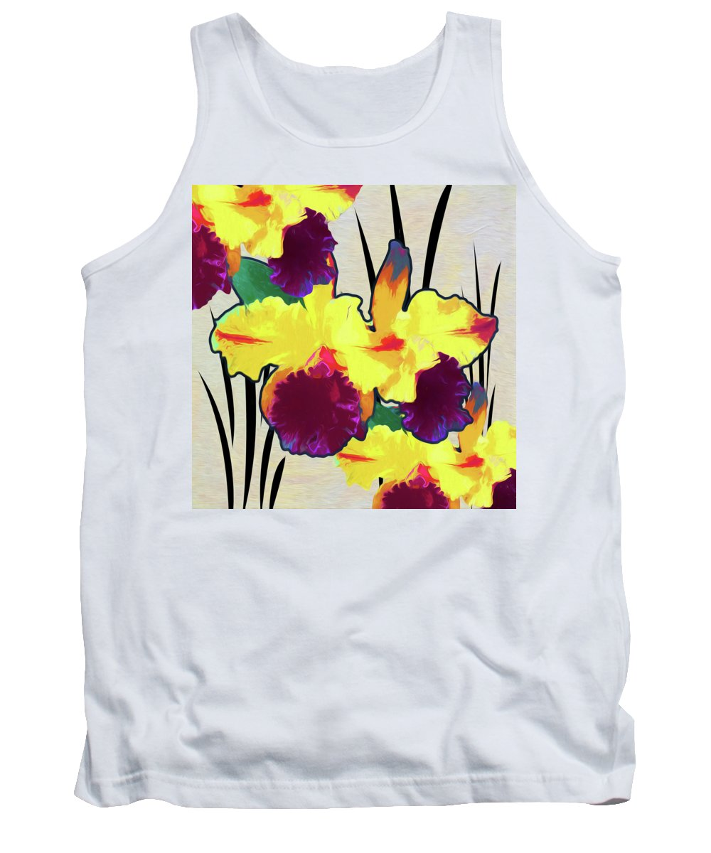 Florals Tank Top featuring the digital art Iris Shadow by Linda Dunn