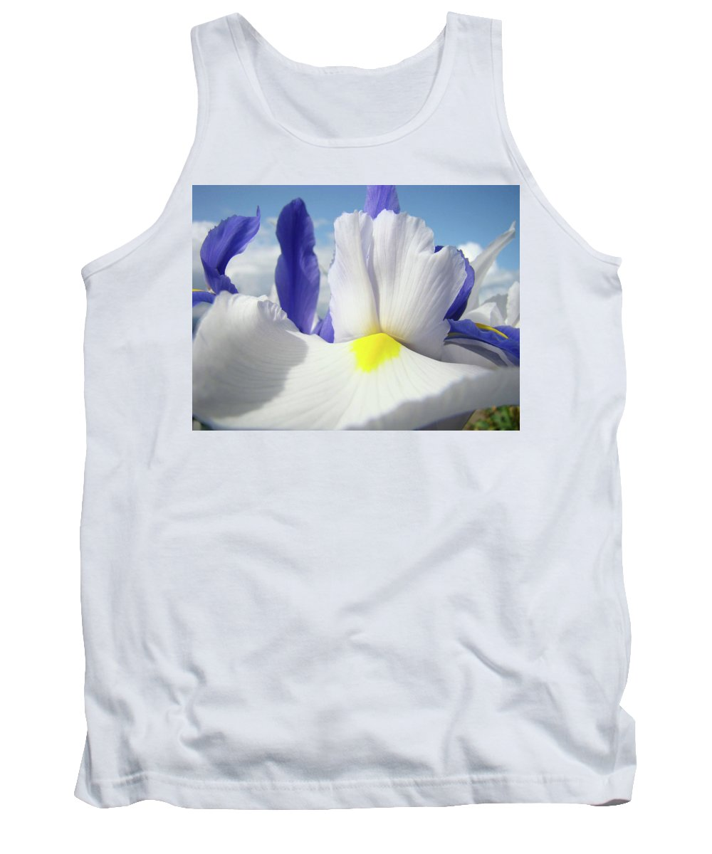 �irises Artwork� Tank Top featuring the photograph Irises White Iris Flowers 15 Purple Irises Art Prints Floral Artwork by Baslee Troutman
