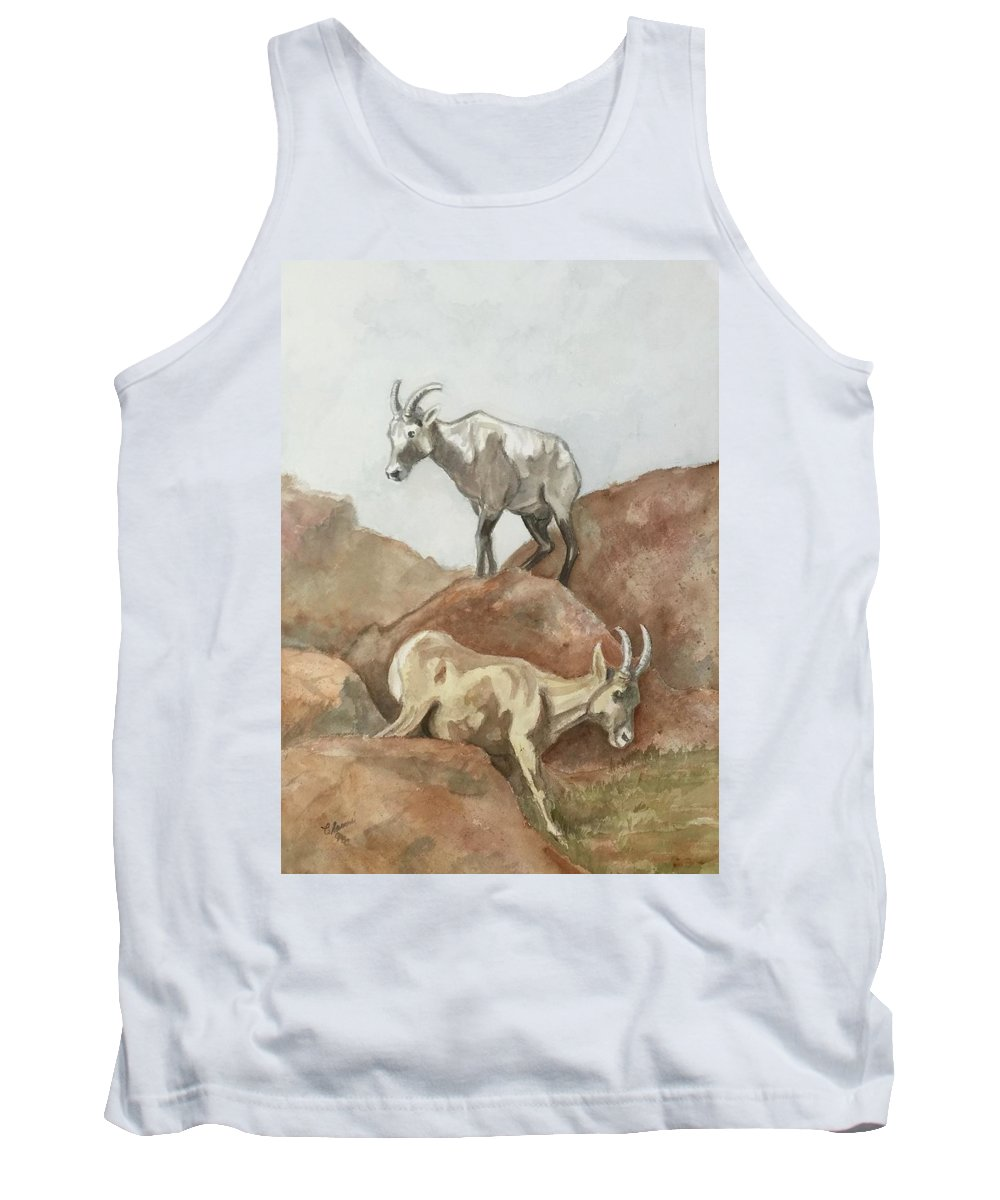 2 Mountain Goats Heading Downhill. Browns Tank Top featuring the painting It's All Downhill by Charme Curtin