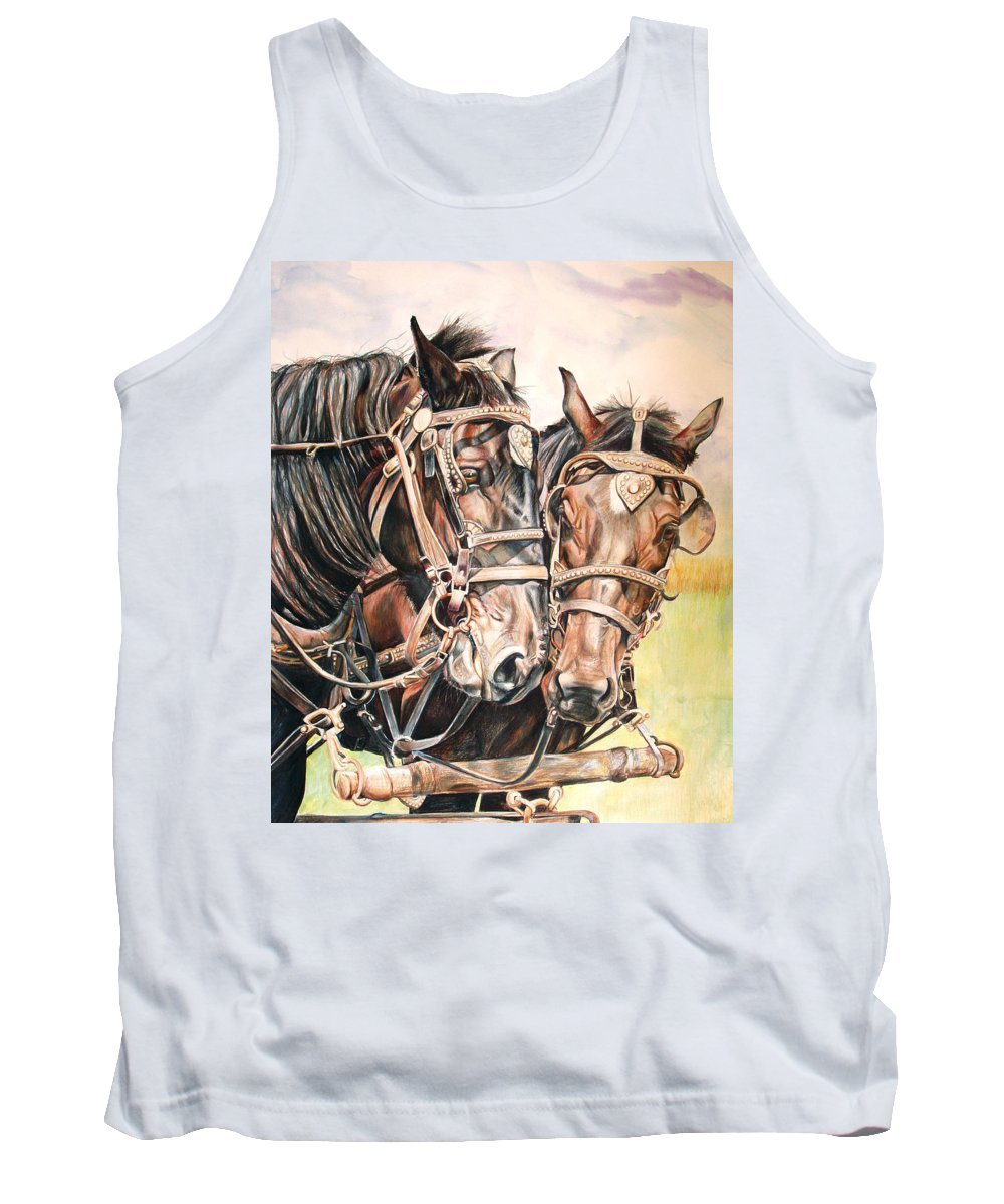 Black Tank Top featuring the painting Jack And Joe Hard Workin Horses by Toni Grote