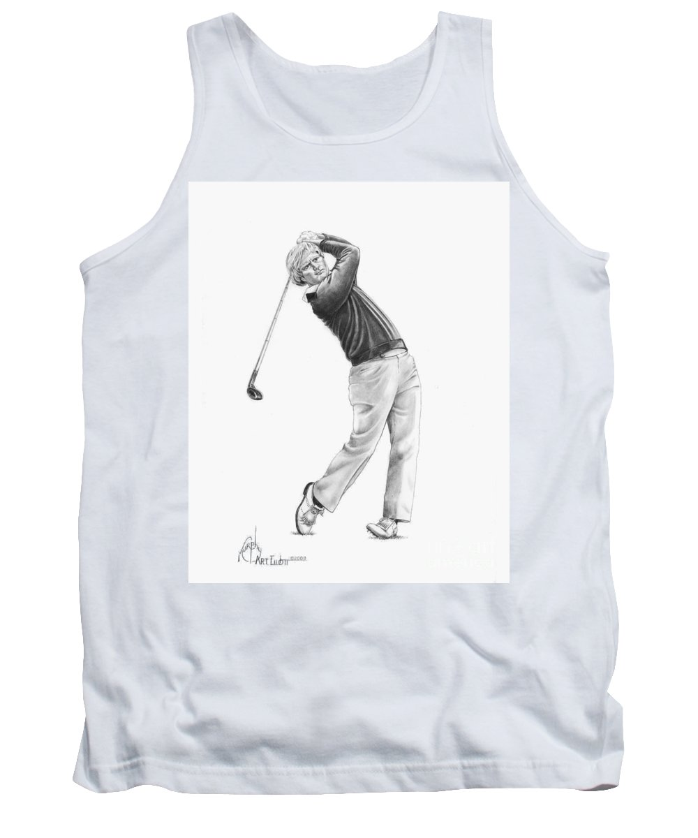 Jack Nickolas Tank Top featuring the drawing Jacl Nicklaus by Murphy Elliott