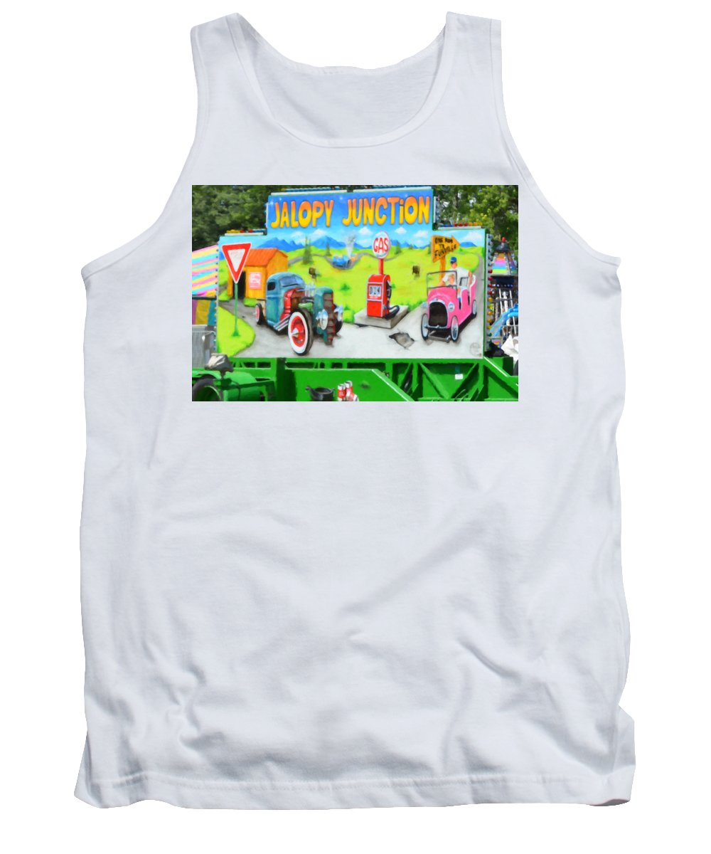 Jalopy Junction Tank Top featuring the painting Jalopy Junction 3 by Jeelan Clark