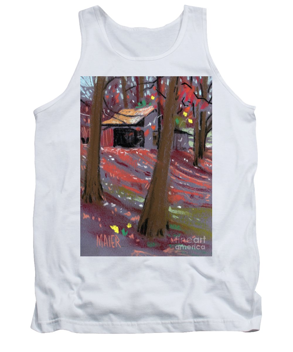 Barns Tank Top featuring the drawing James's Barns 3 by Donald Maier