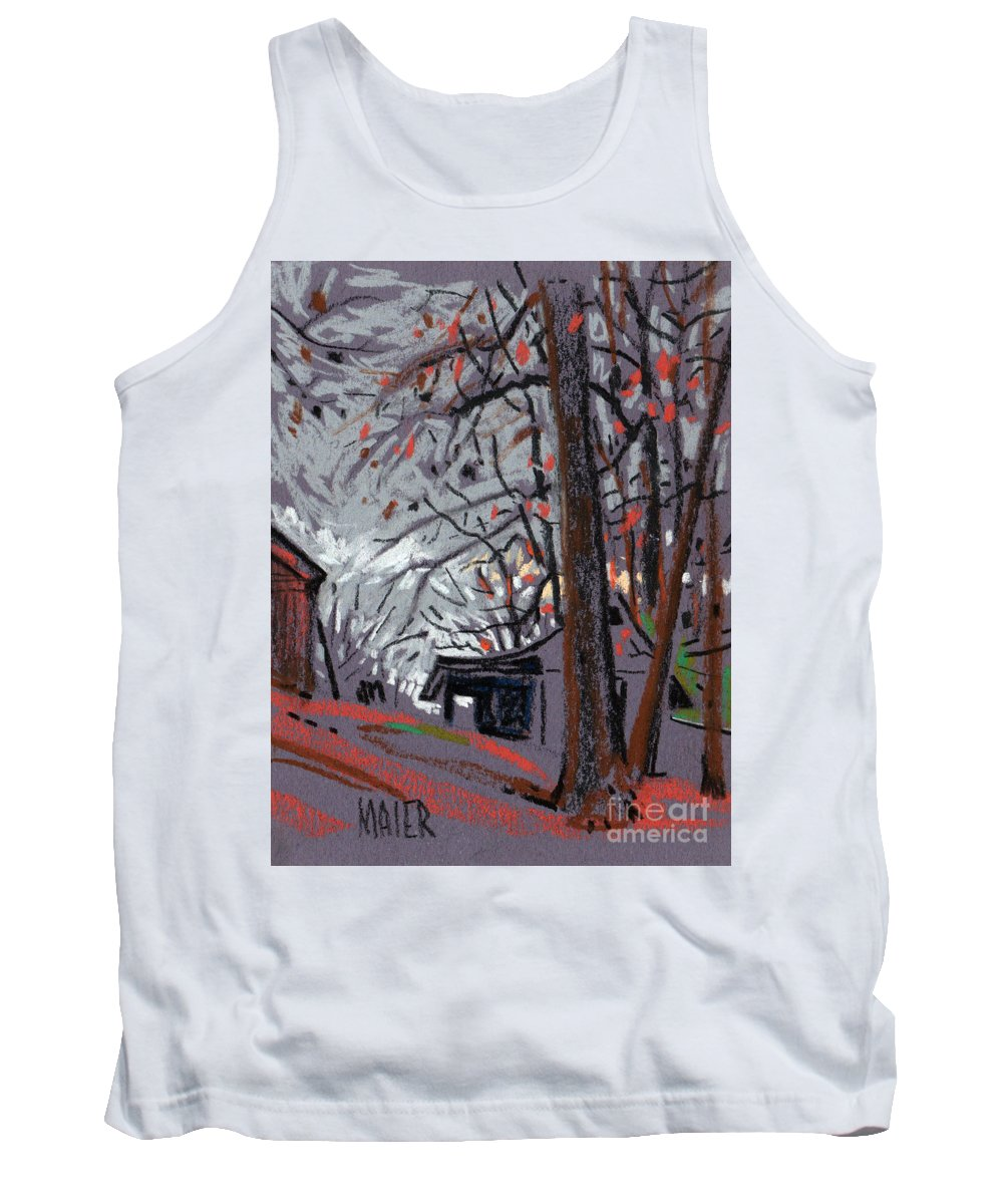 Barns Tank Top featuring the drawing James's Barns 7 by Donald Maier