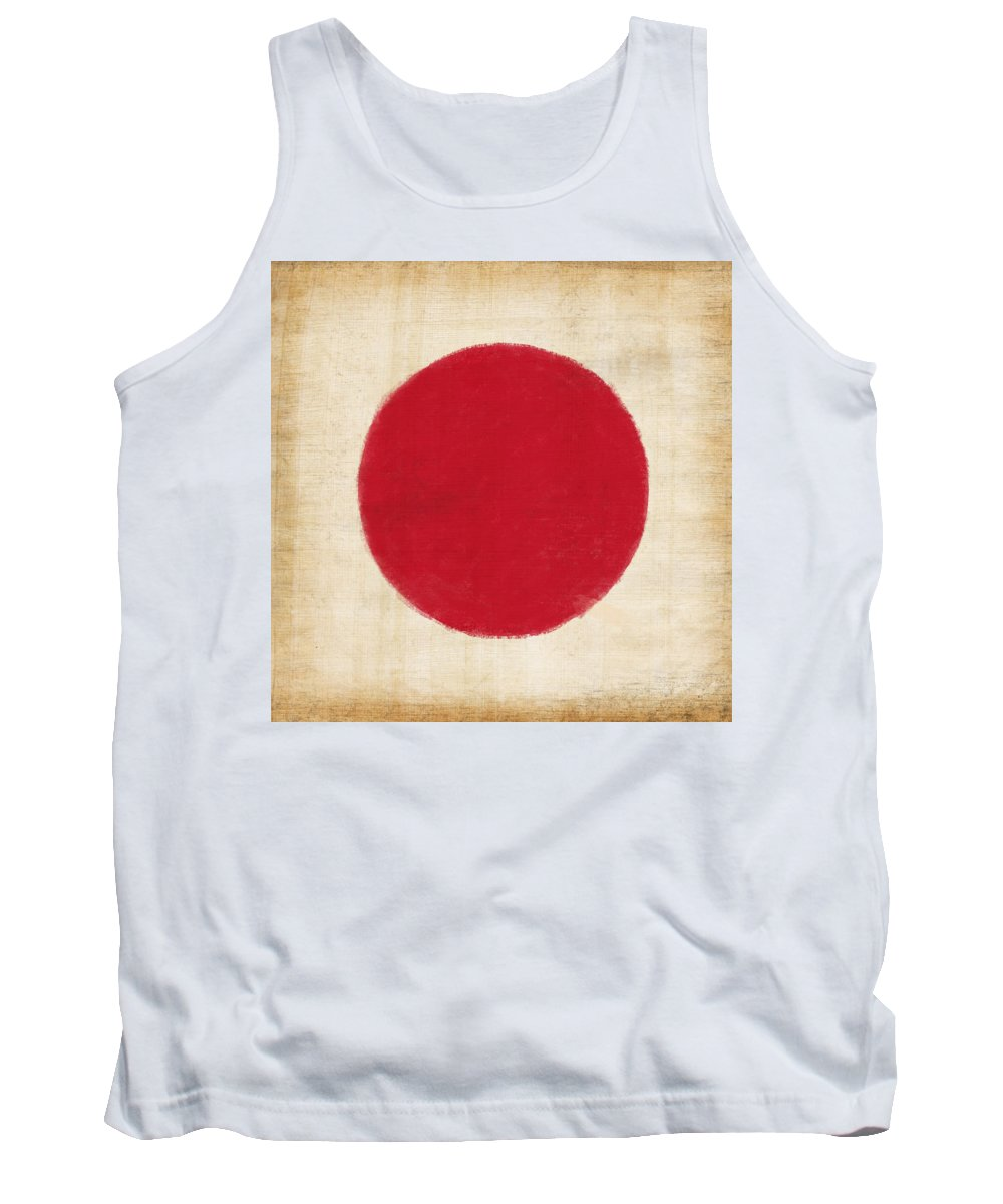 Background Tank Top featuring the painting Japan Flag by Setsiri Silapasuwanchai