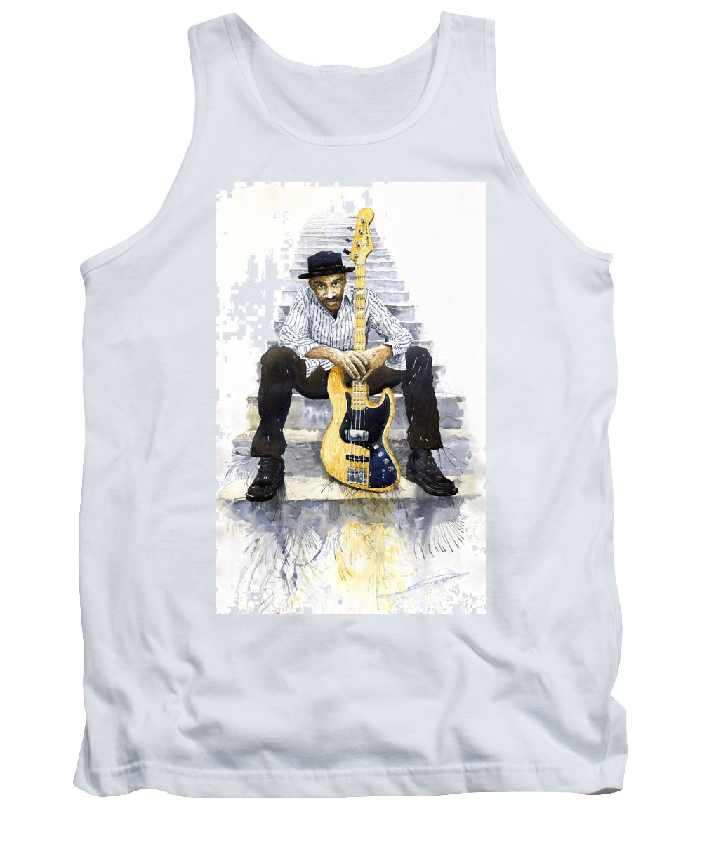 Jazz Tank Top featuring the painting Jazz Marcus Miller 4 by Yuriy Shevchuk