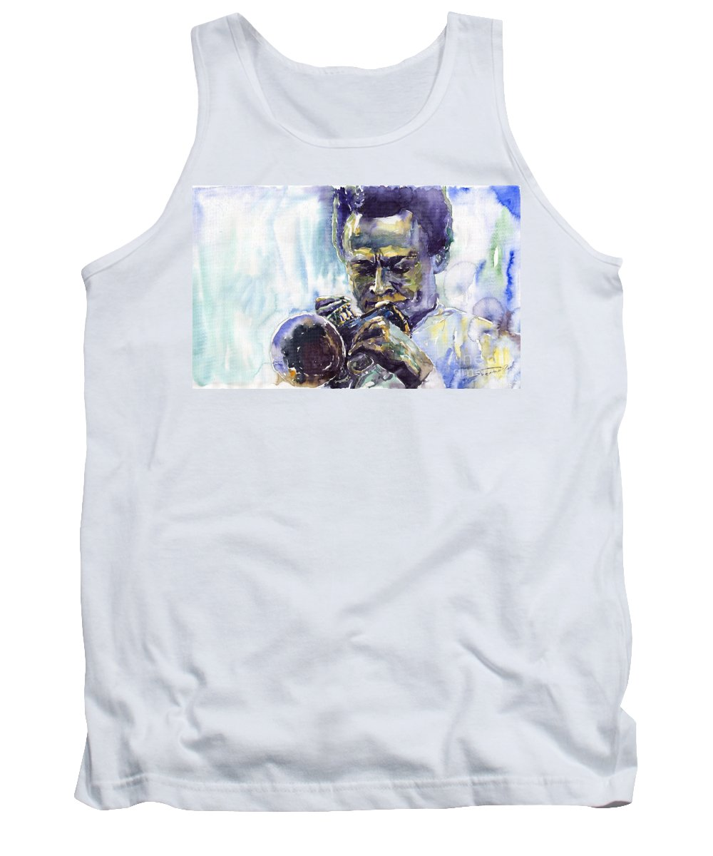 Jazz Miles Davis Music Musiciant Trumpeter Portret Tank Top featuring the painting Jazz Miles Davis 10 by Yuriy Shevchuk