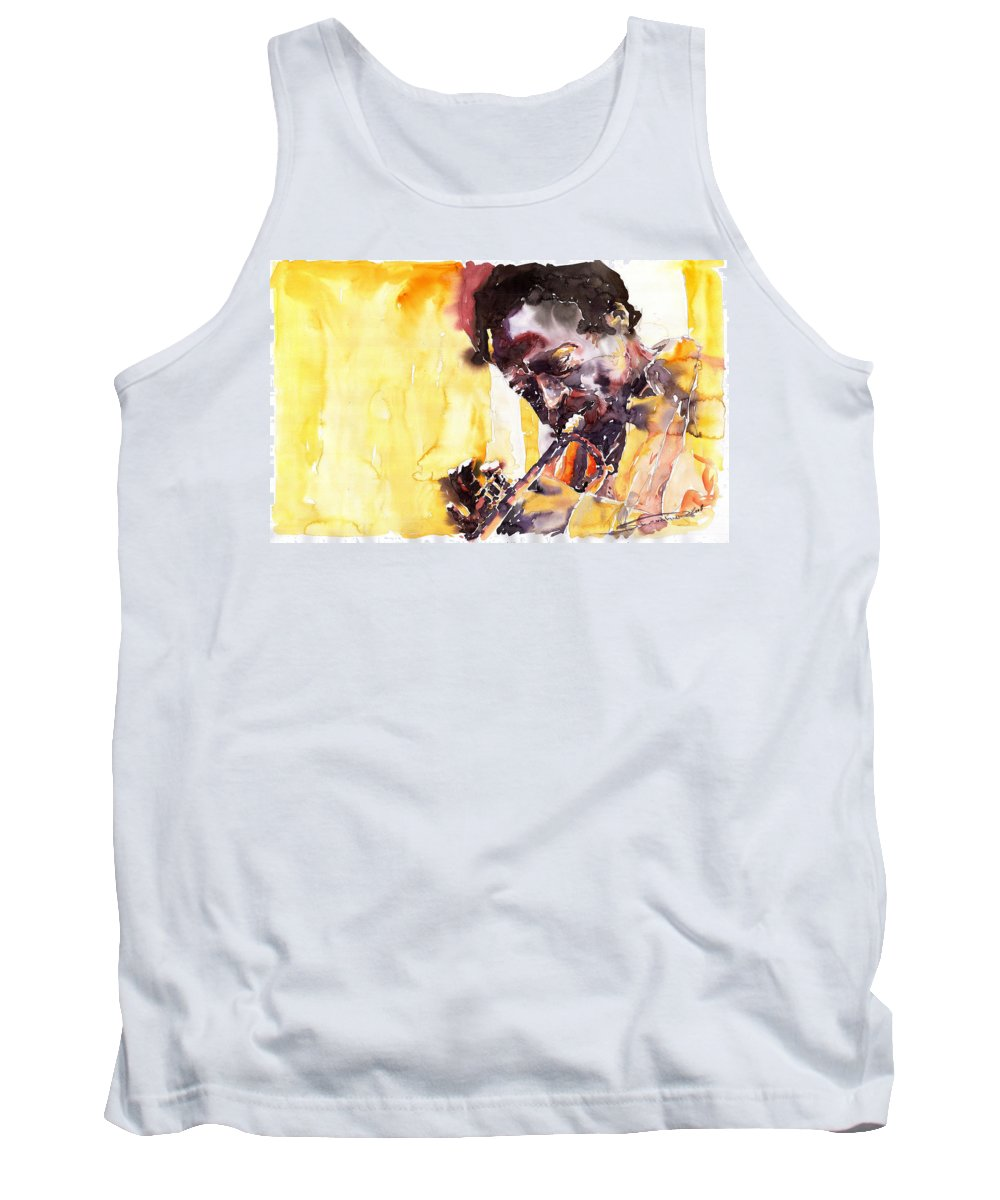 Jazz Music Watercolor Watercolour Miles Davis Trumpeter Portret Tank Top featuring the painting Jazz Miles Davis 6 by Yuriy Shevchuk