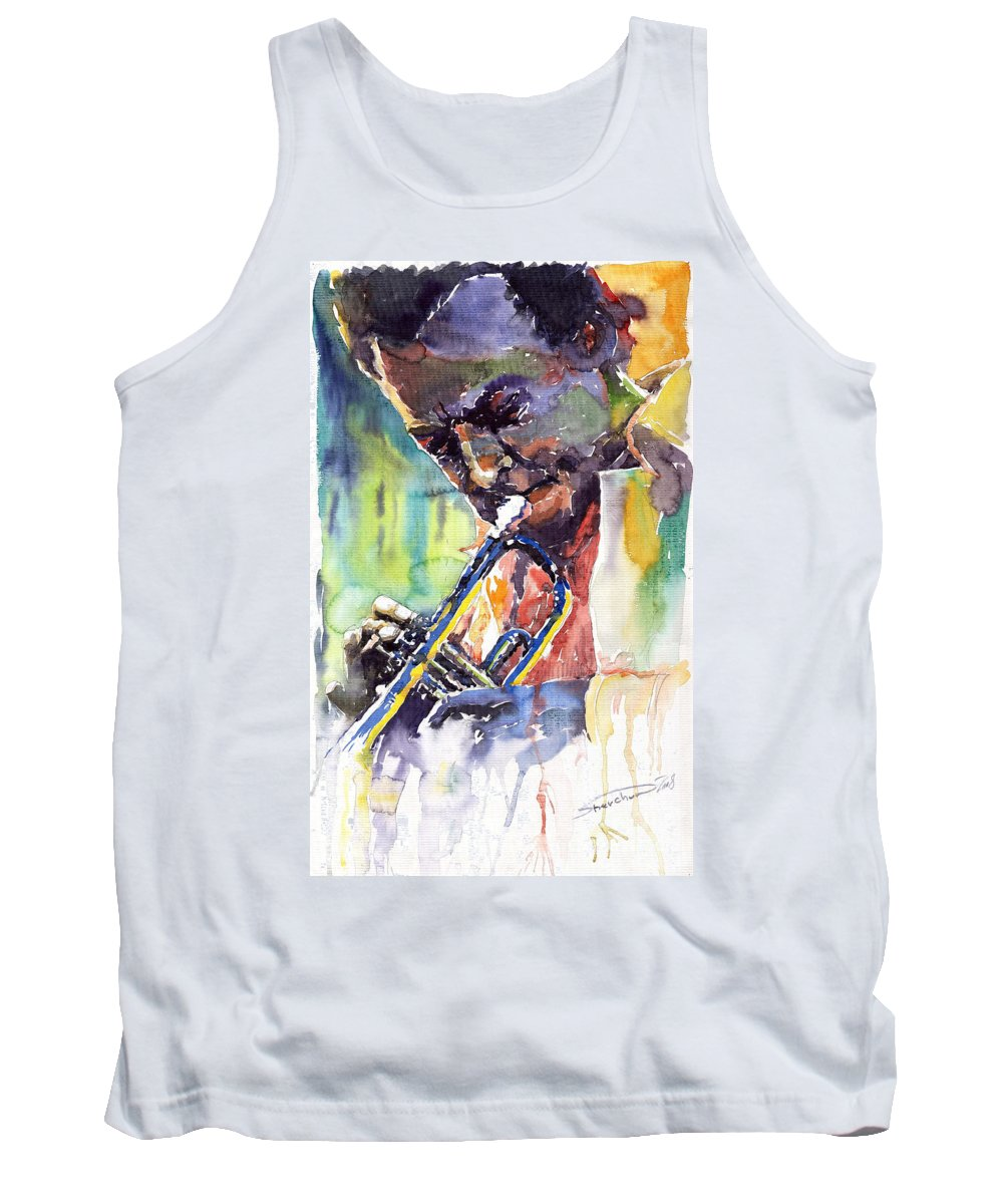 Jazz Miles Davis Music Musiciant Trumpeter Portret Tank Top featuring the painting Jazz Miles Davis 9 Blue by Yuriy Shevchuk