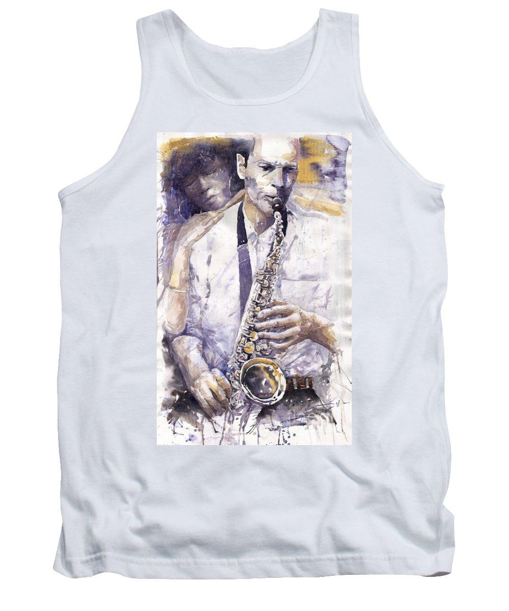 Jazz Tank Top featuring the painting Jazz Muza Saxophon by Yuriy Shevchuk