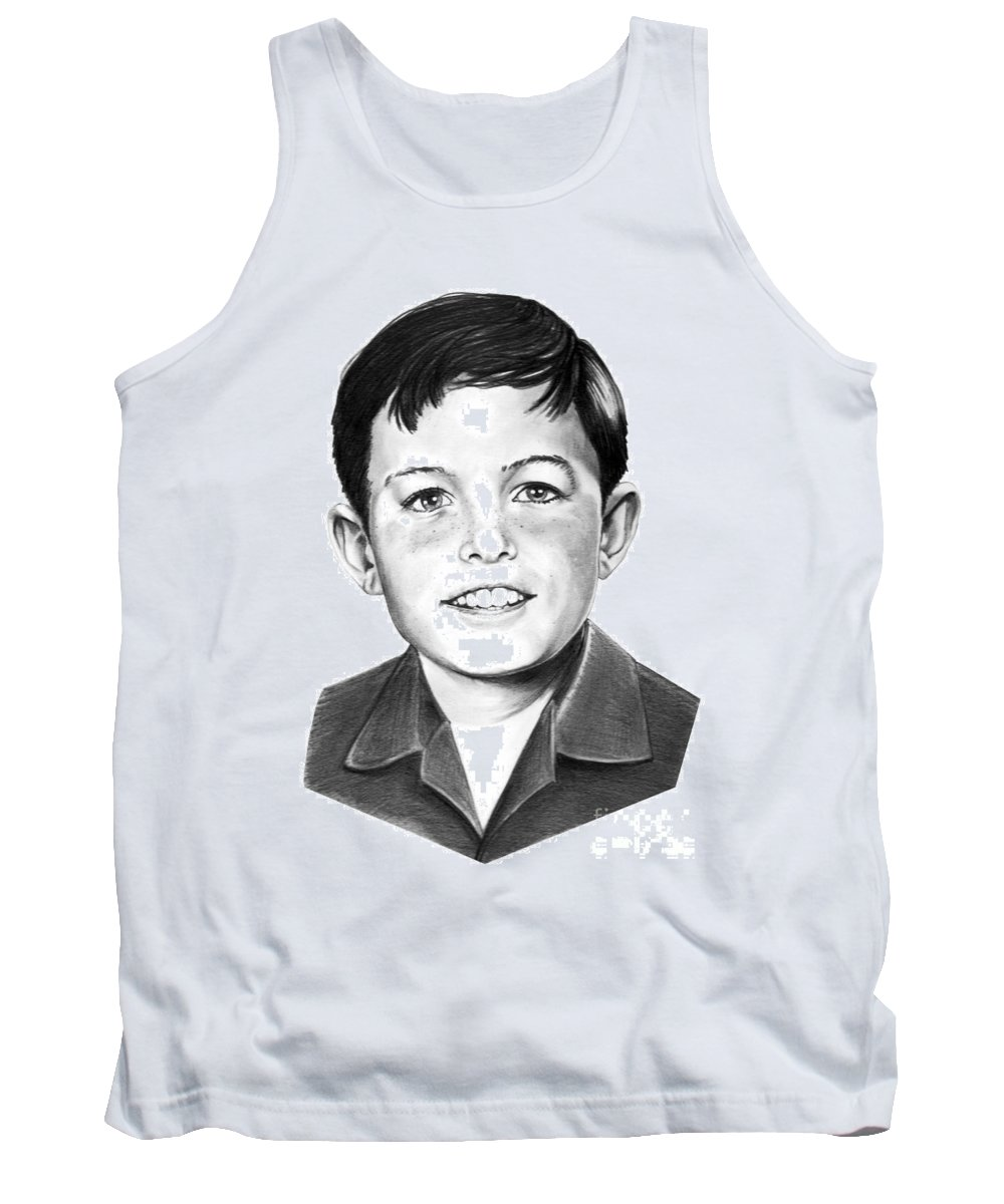 Portrait Tank Top featuring the drawing Jerry Mathers-as The Beaver-murphy Elliott by Murphy Elliott