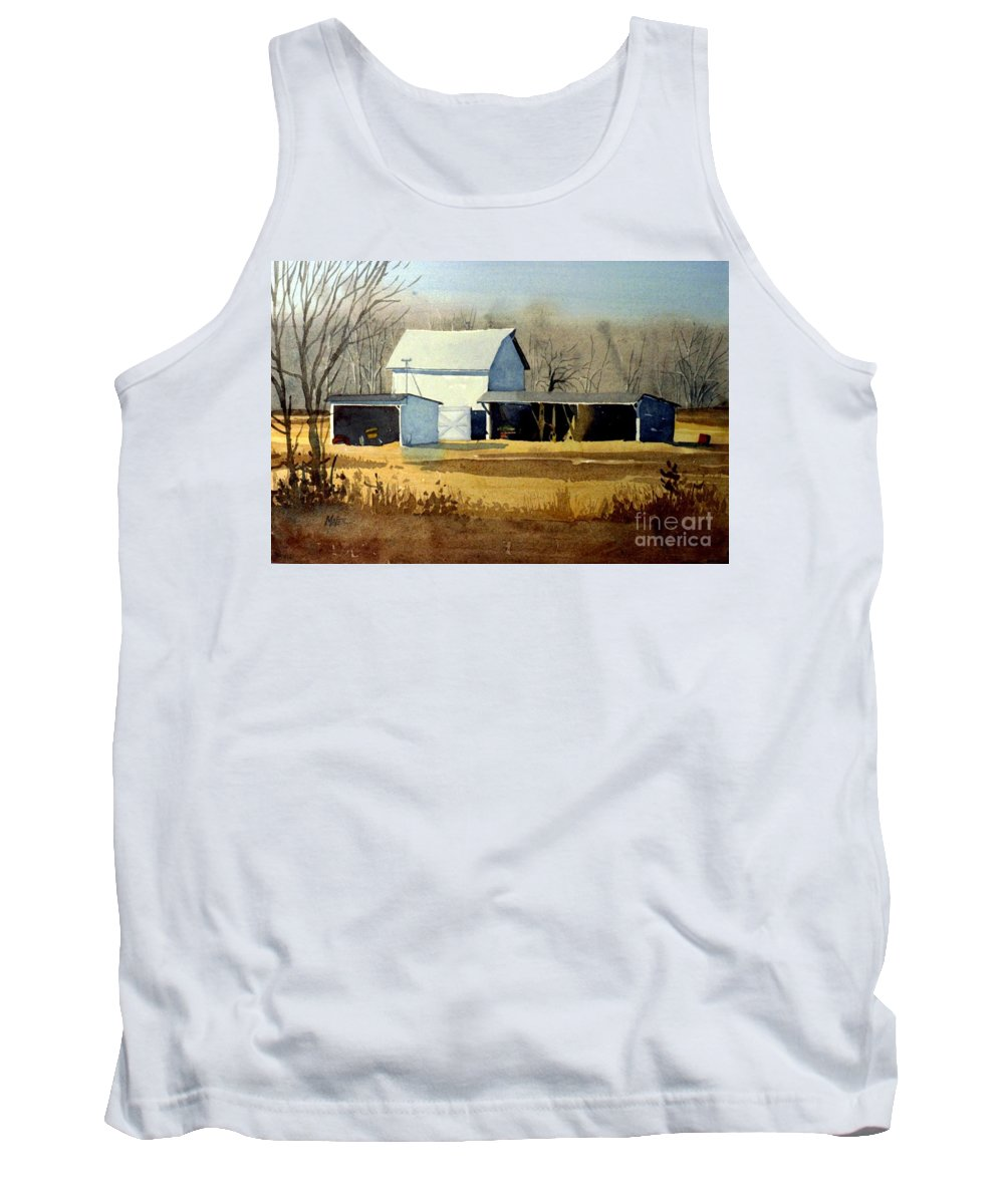 Watercolor Tank Top featuring the painting Jersey Farm by Donald Maier
