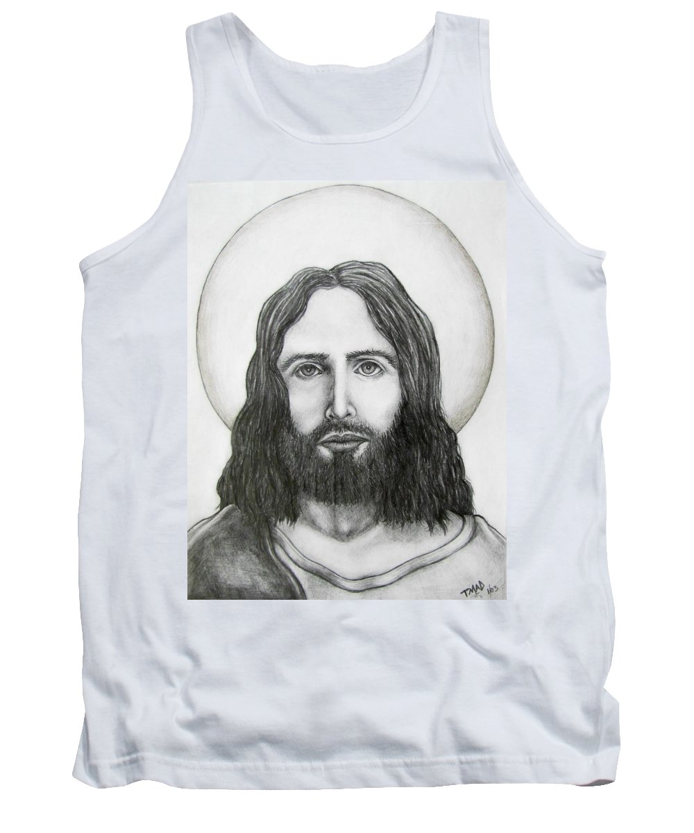 Michael Tank Top featuring the drawing Jesus Christ by Michael TMAD Finney