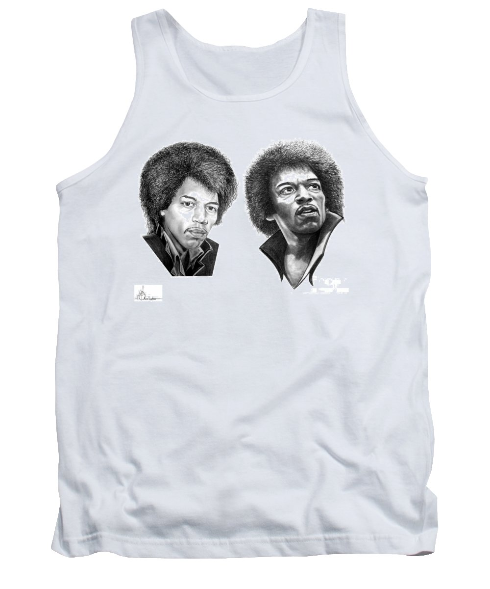 Drawing Tank Top featuring the drawing Jimi Hendrix by Murphy Elliott