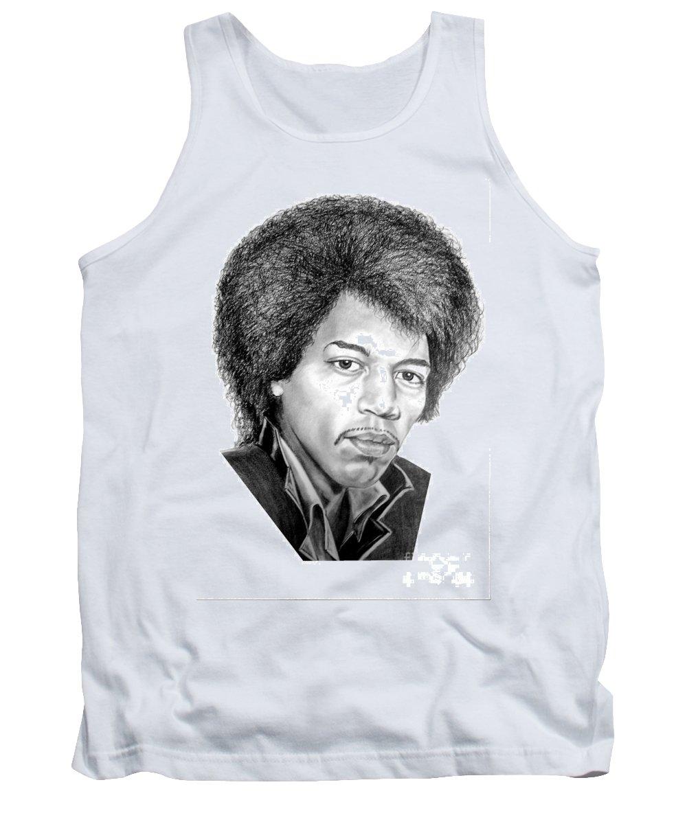 Jimmi Hendrix Tank Top featuring the drawing Jimmi Hendrix By Murphy Art. Elliott by Murphy Elliott