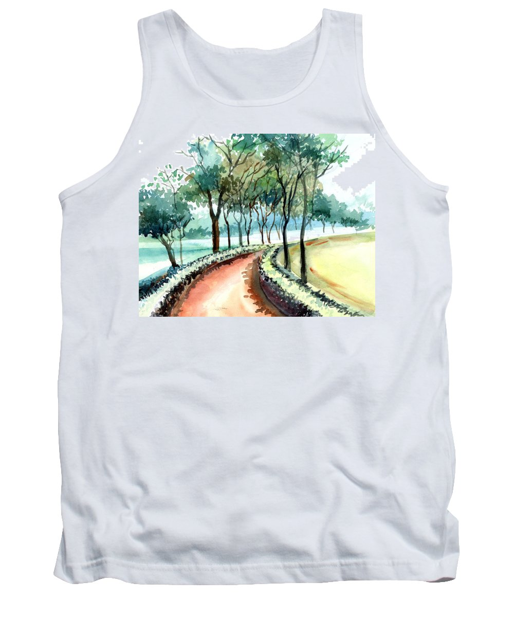 Landscape Tank Top featuring the painting Jogging Track by Anil Nene
